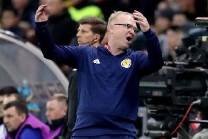 Scotland manager Alex McLeish shows his frustration during his side's humiliating 3-0 defeat by Kazakstan at the Astana Arena. Picture: Adam Davy/PA Wire