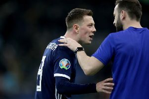 Scotland's Callum McGregor (left) exchanges words with assistant coach James McFadden after the UEFA Euro 2020 Qualifying, Group I match at the Astana Arena. PRESS ASSOCIATION Photo. Picture date: Thursday March 21, 2019. See PA story SOCCER Kazakhstan. Photo credit should read: Adam Davy/PA Wire. RESTRICTIONS: Use subject to restrictions. Editorial use only. Commercial use only with prior written consent of the Scottish FA.