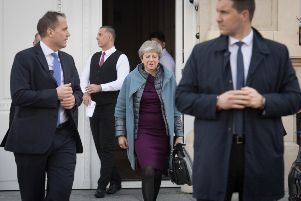 Theresa May leaves the British Residence in Brussels today to return to the UK without attending the second day of the EU Council Summit. Picture: PA