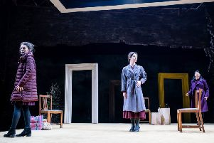 All the Noras: Anna Russell-Martin, Molly Vevers and Maryam Hamidi in Nora: A Doll's House, the first production in the Citizens Women season presented at Tramway