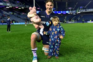 Scotland flanker 'Jamie Ritchie with his children Ava, left, and Oscar. Picture: Gary Hutchison/SNS