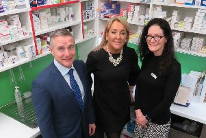From left: CPS chairman Martin Green, Halo founder and executive chair Marie Macklin and Monica Farrelly of McLeans Pharmacy in Muirhead. Picture: Contributed