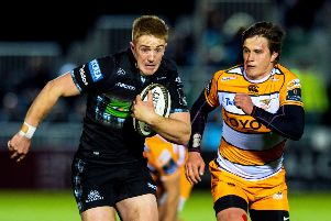 Kyle Steyn, left, in action for Glasgow against Toyota Cheetahs. Picture: Ross Parker/SNS