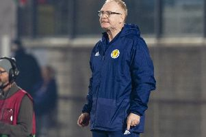 Scotland manager Alex McLeish shows his frustration as his side struggle to find a second goal. Picture: Alan Harvey/SNS
