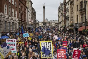 Protesters take part in the Put It To The People March on Whitehall in London. Picture: Getty