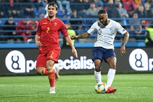 Raheem Sterling of England scores his team's fifth goal during the 2020 UEFA European Championships Group A qualifying match between Montenegro and England. Picture: Michael Regan/Getty Images