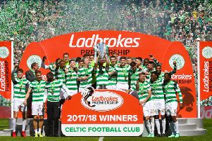 Celtic celebrate winning the 2017/18 league title. Picture: SNS Group