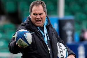 Glasgow Warriors head coach Dave Rennie shouts instructions during a training session. Picture: Ross Parker/SNS/SRU