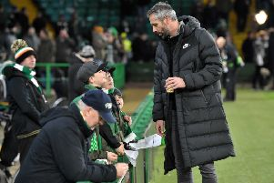 RB Salzburg manager Marco Rose chats with Celtic fans. Picture: SNS/Ross Parker