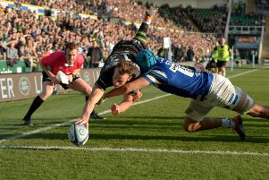 Rory Hutchinson of Northampton Saints dives in to score against Bath. Picture: Getty