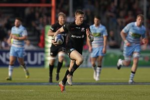 David Strettle of Saracens runs through uncontested to score his side's fifth try. Picture: Getty