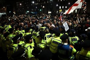 Angry pro-Brexit demonstrators outside parliament on Friday give a foretaste of the likely response were Article 50 to be revoked. Picture: Dan Kitwood/Getty