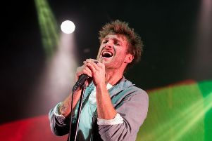 Paolo Nutini joing Edinburgh band Porkpie on stage in Paisley. Picture: Ian Georgeson