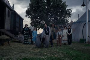 Sharon Rooney as Miss Atlantis (far left) with the cast of Tim Burton's Dumbo PIC: Disney