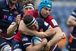 Munster's Tadhg Beirne gets to grips with 'Edinburgh's Stuart McInally. Picture: Ross Parker/SNS