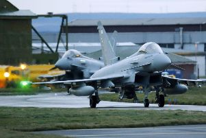 Eurofighter Typhoon jets prepare to take off from RAF Lossiemouth in Scotland. Picture: PA