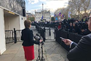 First Minister Nicola Sturgeon faces the media after meetings at Westminster with Jeremy Corbyn and Theresa May