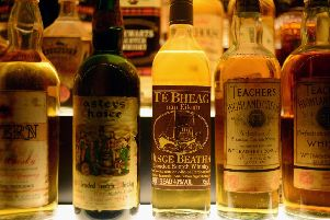 Bottles of whisky on display in the Diageo Claive Vidiz Collection, the world's largest collection of Scottish whisky. Picture: Jeff J Mitchell/Getty Images