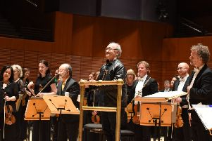 Film composer Paul Chihara takes a bow after his specially commissioned A Matter of Honour, for narrator and orchestra, was performed by veteran actor Clyde Kusatsu and the RSNO at Soka University in Orange County, California.