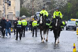 Police horses outside Tynecastle. Picture: Craig Williamson/SNS