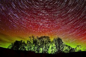 Aurora with star trails in Oban. Picture: David Banks/Cosmos Pictures