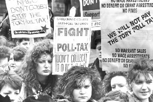 A demonstration against the poll tax which was introduced in Scotland in 1989