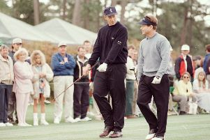 Gordon Sherry and Tom Watson during their practice round at Augusta. Picture: Stephen Munday/Allsport