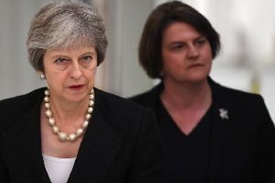 Powerbrokers: Theresa May and DUP leader Arlene Foster (Picture: Clodagh Kilcoyne/AFP/Getty)