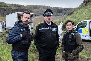 Martin Compston with  Hastings (Adrian Dunbar)and Kate (Vicky Mcclure) in Line of Duty. Picture: PA