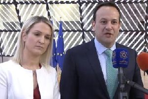 Irish Prime Minister Leo Varadkar speaking in Brussels alongside Europe Minister Helen McEntee