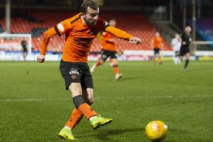 Paul McMullan drives home Dundee United's second goal against Ayr. Picture: SNS