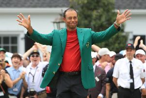 Masters winner Tiger Woods in the Green Jacket. Picture: Andrew Redington/Getty Images