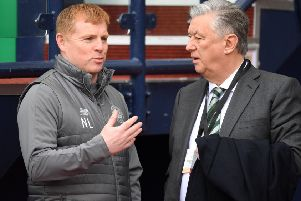 Celtic manager Neil Lennon (left) with Chief Executive Peter Lawwell. Picture: Craig Williamson/SNS