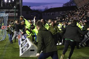 The Celtic fans invade the park following Scott Brown's (not pictured) late winner against Kilmarnock in February. Picture: SNS