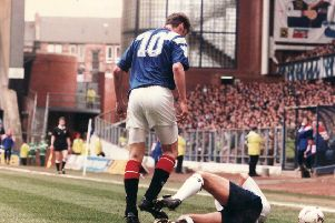 The aftermath of Duncan Ferguson's headbutt on Raith Rovers' Jock McStay at Ibrox on April 16 1994. Picture: Neil Hanna / TSPL