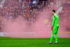 In a separate incident a smoke bomb was set off at the Edinburgh derby earlier this month.