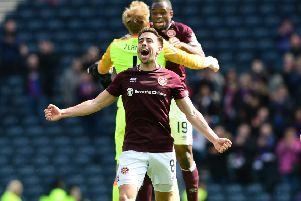 Olly Lee celebrates the Scottish Cup semi-final win over Inverness. Picture: Getty