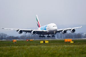 16/04/19'GLASGOW AIRPORT'The Emirates Airbus A380 arrives at Glasgow Airport for the first time.