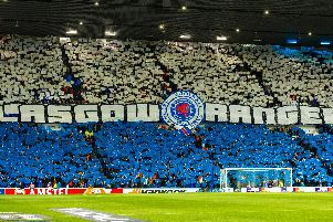 Rangers fans create a display ahead of a Europa League clash