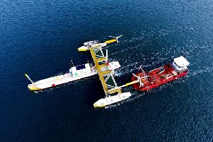 Sustainable Marine Energy's Plat-I platform system, currently generating energy in Nova Scotia. Picture: Contributed