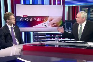 Activist Robin Boardman is interviewed by Sky News presenter Adam Boulton. Picture: Sky News
