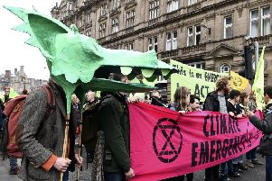 Extinction Rebellion campaigners bring North Bridge to a standstill. Picture: Lisa Ferguson