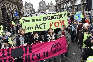 Extinction Rebellion protesters halt traffic in Edinburgh (Picture: Lisa Ferguson)