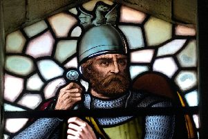 William Wallace encapsulated in stained glass, Stirling.