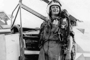 Jerrie Cobb by her jet fighter in 1961. (Picture: AP)