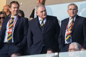 SFA Chief Executive Ian Maxwell, SFA Second Vice President Rod Petrie and SFA President Alan McRae. Pic: SNS/Alan Harvey