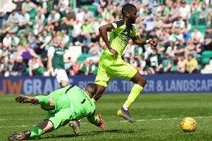 Odsonne Edouard rounds Hibernian goalkeeper Ofir Marciano but his goal is ruled out for offside. Picture: SNS.
