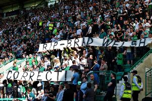 Hibs fans paid tribute to murdered fan Bradley Welsh. Picture: SNS