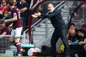Craig Levein barks instructions to his players. Picture: SNS
