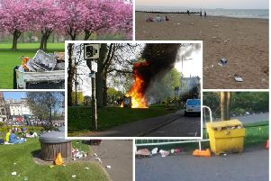 Overflowing litter caused an eyesore over the Easter Bank Holiday, with a fire sparked by a disposable barbecue which had not been properly extinguished.